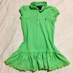 Girl's Ralph Lauren Cotton Polo Ruffle Dress SZ 4